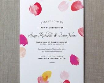 Petals Watercolor Wedding Invitation Suite