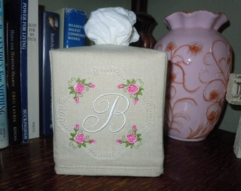 "Monogrammed Natural Linen Custom Made Tissue Box Cover - ""Pink Rose Frame - B """