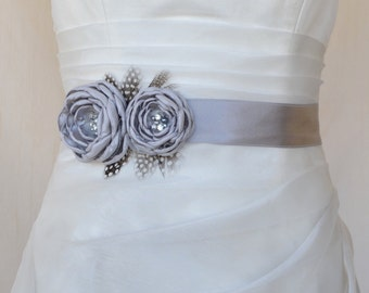 Handcraft Grey Two Flowers With Feathers Wedding Bridal Sash Belt