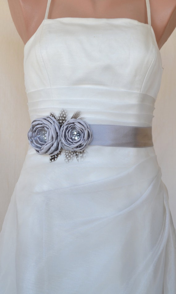 EXPRESS SHİPPİNG! Handcraft Grey Two Flowers With Feathers Wedding Bridal Sash Belt