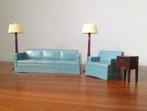 Items Similar To Renwal 1950 39 S Plastic Dollhouse Furniture Blue Couch Set On Etsy