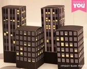 City Buildings Favor Box Set (Nighttime): DIY Printable PDF - Instant Download
