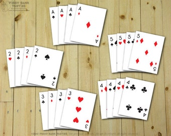 Playing Cards Paper (Ace - 10 only) : DIY Printable Deck of Cards PDF // Magic Party // Poker Night Decor // Casino Night - Instant Download