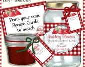 Digital Gingham n Strawberries Food Gift Kitchen Labels Printable Sheet AJR-365C product tags retro vintage recipe card mixing bowls plaid