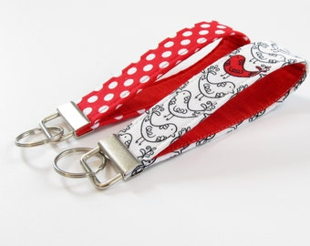 Red and White Fabric Keychain, Red Bird Key Fob, Fabric Wristlet Strap in Red and White Birds, Red Polka Dots - PREORDER