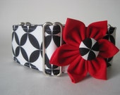 Black and White Martingale Collar and Collar Flower, Greyhound Martingale Collar, Black and White Dog Collar, Dog Collar Flower, Sighthound