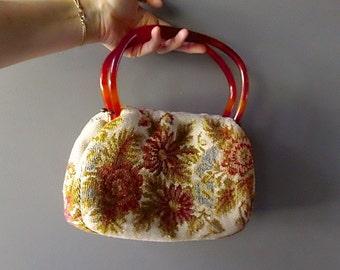 SALE - Tapestry Vintage Lucite Handled Purse