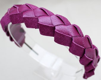 Leather headband purple braided hair band metallic leather woodland wedding prom wrapped chunky headband wearable art