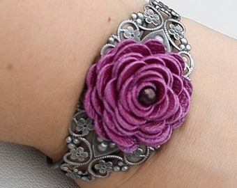 Flower leather bracelet floral cuff bracelet purple leather jewelry wedding jewelry mixed media jewelry silver metal lace bracelet prom