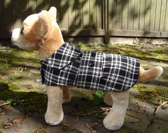 Black and White Corduroy Plaid Coat with Snaps - Size XX Small- 8 to 10 Inch Back Length - Or Custom Size