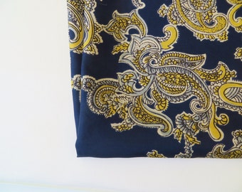 Vintage Scarf / Silk Scarf / Large Scarf / Paisley Scarf / Burgundy Navy Yellow / Littler Seattle Scarf / Designer Foulard
