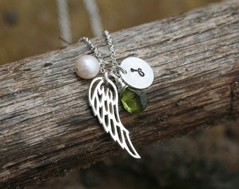 Personalized Angel wing Sterling Silver Necklace,Angel wing,monogram initial & birthstone,Graduation,bird wing,Wedding,Flower girl