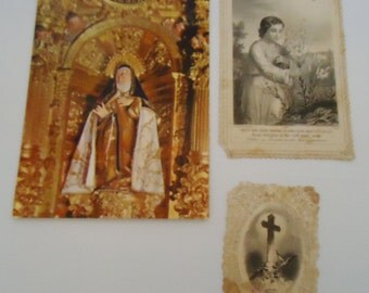 Three Vintage Religious Cards. Spanish and French.40s