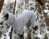 Fleece Body Suit of Polartec 200 with Head Covering Cowl for Italian Greyhounds and all small dogs.