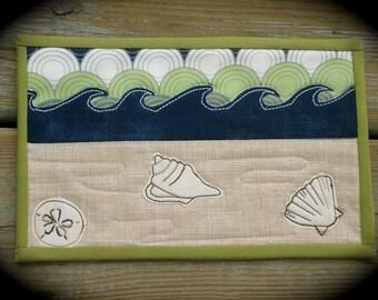 Mug Rug, table mat, Down by the Sea