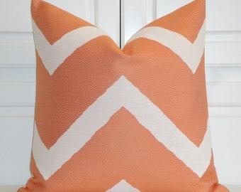 Orange Chevron - Decorative Pillow Cover - IKAT Zig Zag -  Cushion - Sofa Pillow