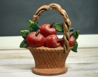 Vintage Door Stop Cottage Chic Cast Iron Red Apple Basket