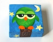 The Daily Hoot - 7.6.14, Mini Painting, Owl, 4x4 acrylic canvas art