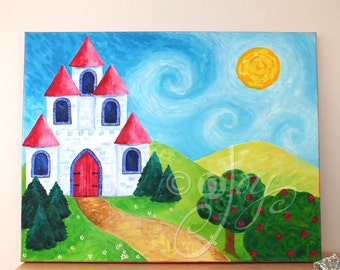 Art For Girls Room, PINK CASTLE, 20x16 canvas, Princess Nursery Art