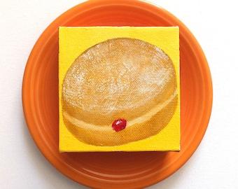 Miniature Donut Art, The Daily Treat 8.19.14, Mini Painting, 4x4 acrylic canvas
