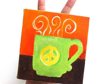 Miniature Coffee Mug Painting, A Cup A Day 8/12/14 - 4x4 acrylic canvas, Peace Mini Painting