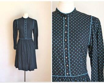 vintage 1970s boho dress - LANZ original calico folk dress / XS