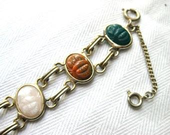 Vintage Double Link Scarab Bracelet