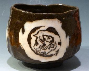 Stoneware Chawan.  Japanese Style Teabowl   Black Stoneware Dark Brown with White porcelain inlay design George Watson