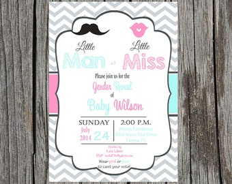 Gender Reveal Party Invitation, Little Man or Little Miss invitation, mustache and lips invitation, custom and printable