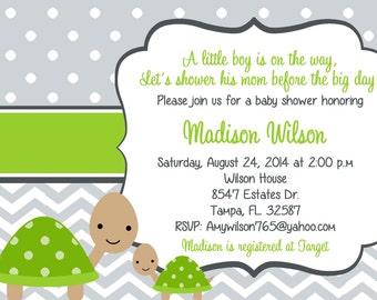 turtle baby shower | etsy, Baby shower invitations