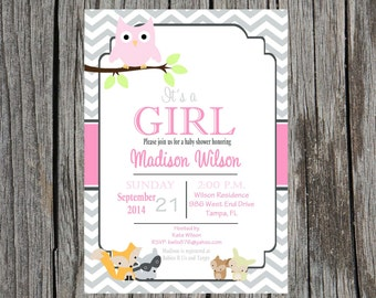 Printed Forest Animals Baby shower invitation, woodland creatures baby shower invitation, custom and printable, baby girl shower invitation