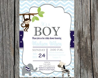 Jungle Baby Shower Invitation, monkey baby shower, baby boy shower, baby boy, custom and printable