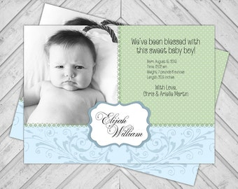 Boy Baby Announcement Photo Cards - Polkadot Birth Announcements - Newborn Photo Cards - Blue and Green - Printable or Printed (127)