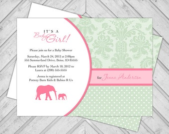 Elephant baby shower invite baby girl - printable baby shower invitation pink and green -  mommy and baby elephant invitations (717)