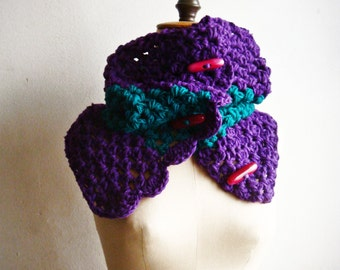 Women Winter Button up Cowl Crochet Tube Scarf Snood in Purple and Green