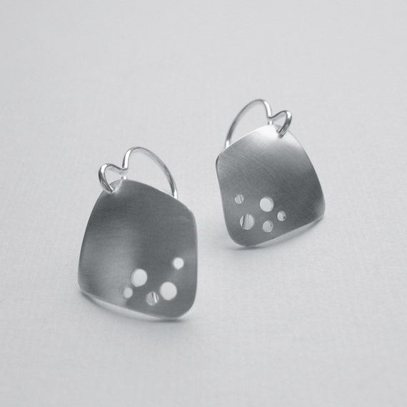 Holes in Silver Earrings (E14) sterling with pierced holes modern asymmetric hand fabricated oxidized