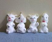 Set of 4 Vintage Wax Animal Candles