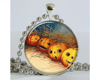 Row of Pumpkins Halloween Silver Plated Necklace with Chain Resin Pendant Picture Pendant Art Pendant Photo Pendant