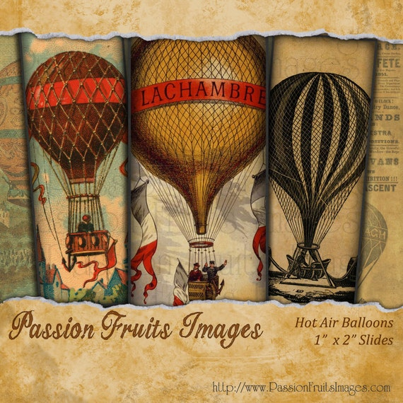 Hot Air Balloons Microscope Slide Digital Collage Sheet--Instant Download