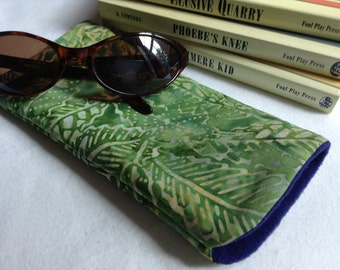 Sunglass Eyeglass Cover Case, Green Batik Fabric, Lined and Large