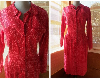 1976 CACHAREL--Made in France--Cotton Shirt Waist Dress--Red and White Polka Dots--Size 8