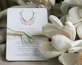 Rustic Antler Wedding Invitation Download, Antler and flowers wedding invites digital files,Antler Wedding Invitation Printable,DIY Download
