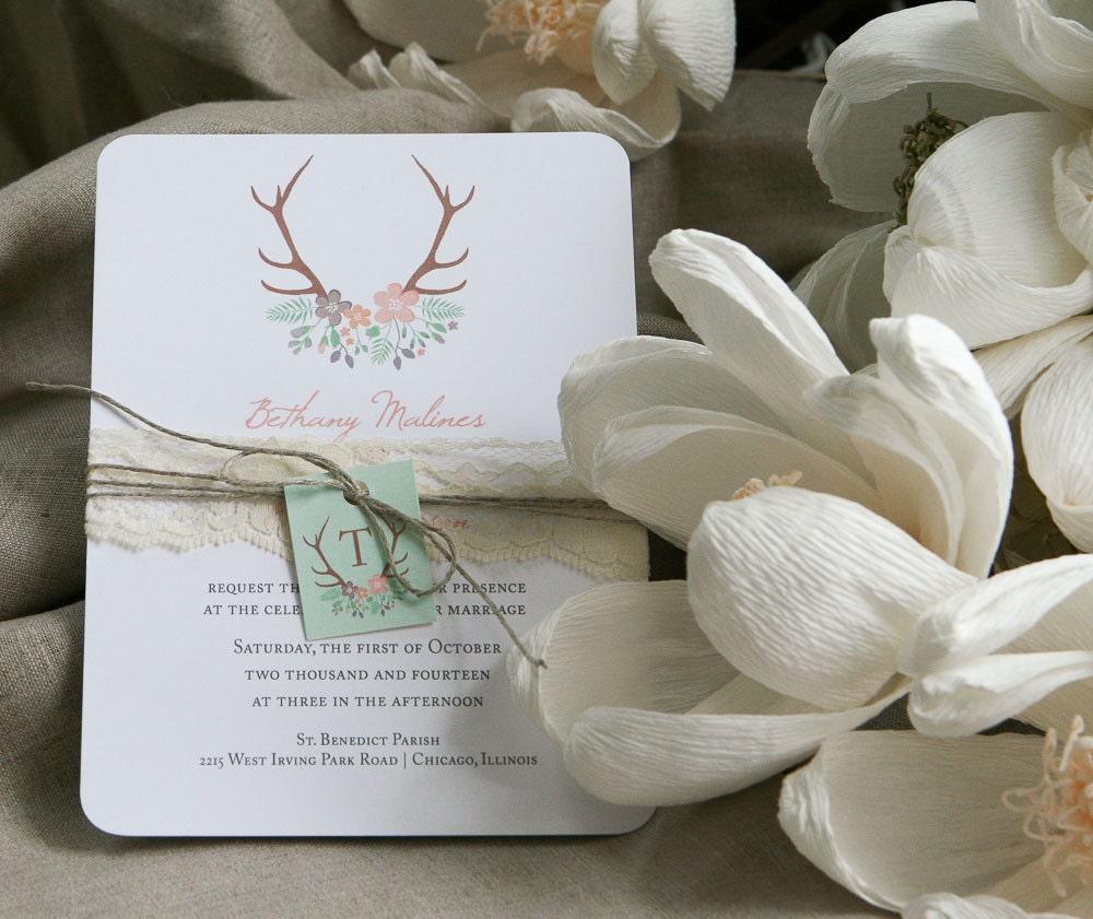 rustic antler wedding invitation download antler and flowers