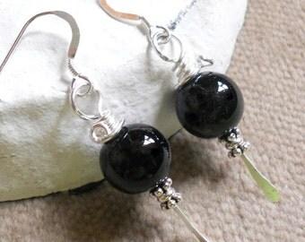 Handcrafted Earrings Black Onyx Earrings Sterling Silver Wire Wrap Earrings