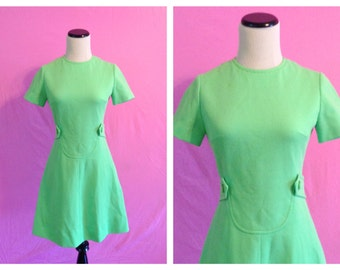 1960's Lime Green Mini Mod Dress Small S