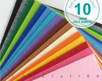 3MM Thick Felt Fabric - 10 Sheets 20cm x 20cm - Pick your own colors - 5 New Colors Added