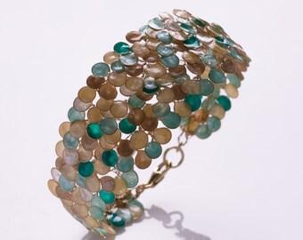 Mint Green Wire Wrapped Handmade Bracelet, Designer Bracelet, Fashion Bracelet, Artisan Bracelet, Enamel Bracelet, Unique Statement Bangle