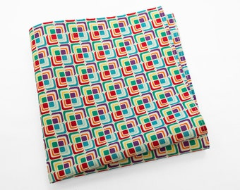 Cotton Pocket Square with squares in purple, red, green, and blue