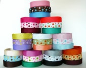 """30 Yards Assorted Dot Ribbons and Matching Solid Ribbons (set A) - 3/8"""" Grosgrain"""