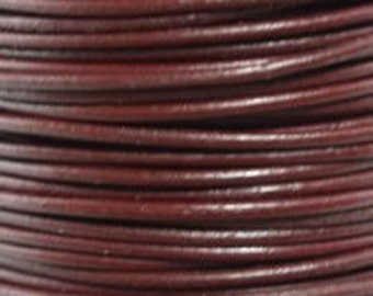 1.5mm Granada Red Round Leather Cord  6 Feet Or 2 Yards (1.82 m)